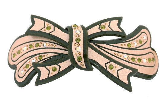Stoned Tie Over Leaf Hump  Barrette 597