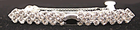 Bow Barrette with Jet & Swarovski Crystal Stones 6002