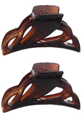 Mini French Cut-Out Tortoise Shell Hair Claw (Pair) 609-2