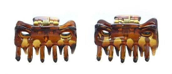 Extra Tiny French Hair Claws in Tortoise Shell (Pair) 612-2