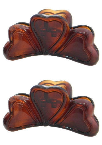 Mini Heart Hair Claw Tortoise Shell Pair 618-2