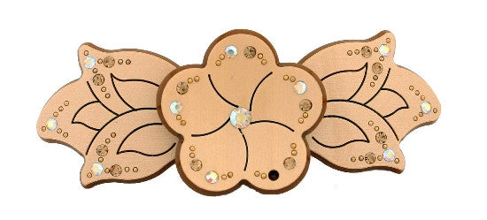Stone Flower Automatic Barrette Decorated w/ Swarovski Crystals 632