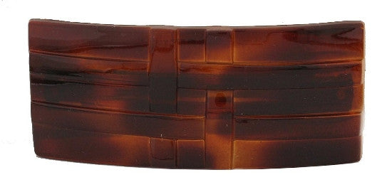 Tortoise Shell Rectangle Barrette With Ribbon Design 706