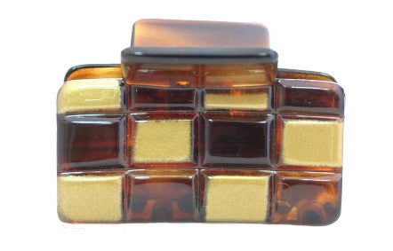 Gold & Tortoise Shell Checker Board Hair Claw 8088