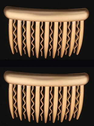 Gold & Silver Side Hair Combs w/ Straight & Wavy Teeth 855-2