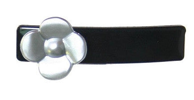 Silver Rose On Black Barrette 8801