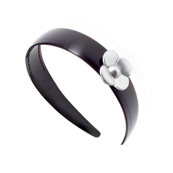 Painted Silver Rose & Black Headband 8803