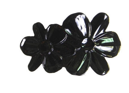 Double Flower Automatic Black Barrette   12121-9816