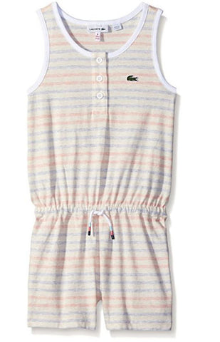 Lacoste Girls' Heather Striped Jersey Romper - Size: 6 - Tristyn's Closet