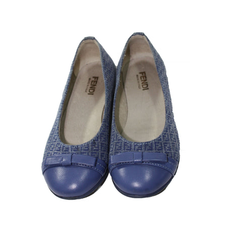 "Fendi Girls Canvas ""FF"" Ballet Flat - Size: 28EU/11US - Tristyn's Closet"