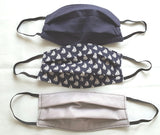 "Handmade 100% Cotton Soft 3 Layers Face Covers-Masks ""BLUE SEE"",  Re-usable and Washable"