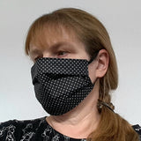 "Handmade 100% Cotton Soft 3 Layers Face Covers-Masks ""IN BLACK"",  Re-usable and Washable"
