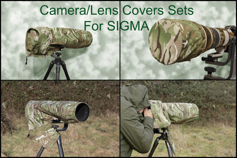 For Sigma lens range SET  Waterproof Multi Camo Camera Lens Cover & CAP