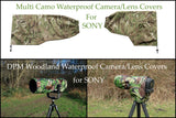 SONY lens Range Of  Waterproof Multi Camo or DPM Woodland Camera Lens Cover & Pouch