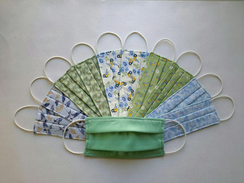 "Handmade 100% Cotton Soft 3 Layers Face Masks ""Nature"",  Re-usable and Washable"