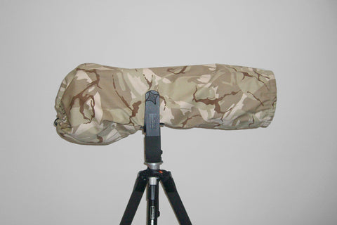 Reversible Waterproof Camera Lens Cover for Nikon 600 F4 VR I & II, Desert Camo & Hood Cap
