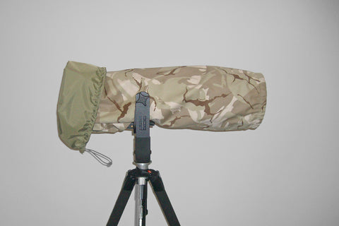 Reversible Waterproof Camera Lens Cover for Canon 500 F4 MK I & MK II, Desert Camo & Hood Cap