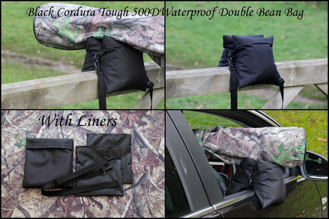 CAMERA BEAN BAG Waterproof Medium Double Filled/Unfilled  Black Cordura 500D, with Liners & Shoulder Strap