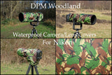 For NIKON lens Range Of  Waterproof Multi Camo Or DPM Woodland Camera Lens Cover & Pouch
