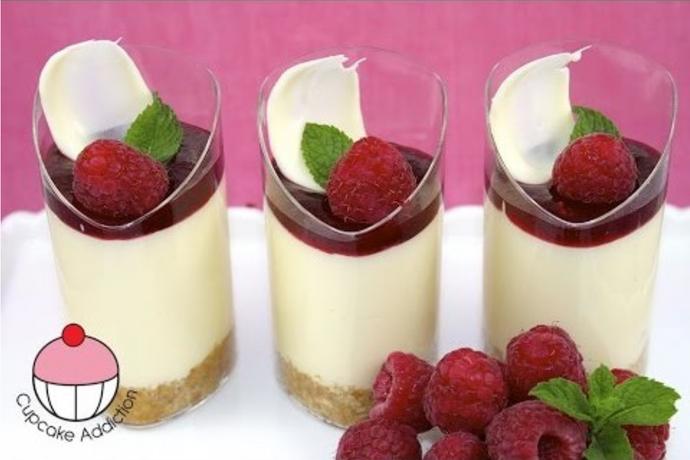Raspberry Dessert Cups with White Chocolate Cheesecake