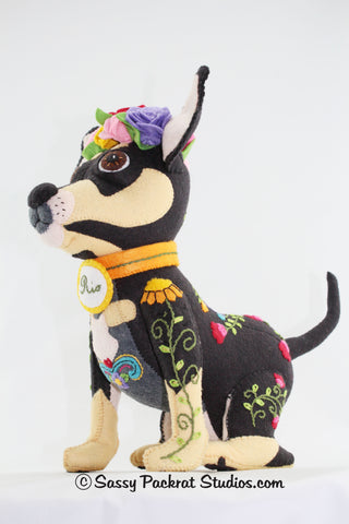 Day of the dead Chihuahua soft sculpture side view
