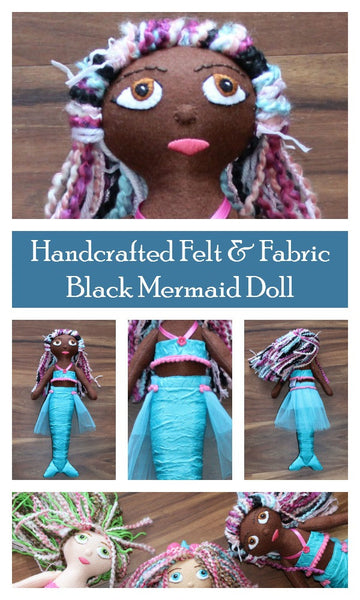 OOAK Black Mermaid Handmade Keepsake Felt Plush Doll
