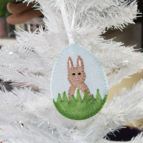 Bunny In The Grass Ornament Felt Digital DIY PDF Pattern