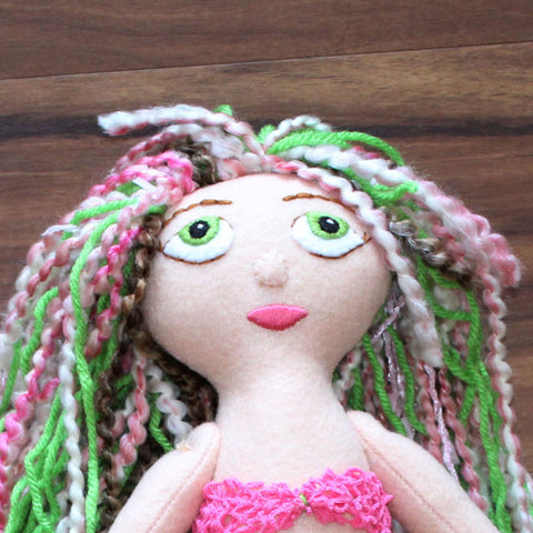 OOAK Green Eyed Handcrafted Felt Keepsake Mermaid Plush Doll