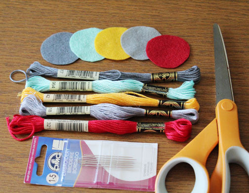 supplies for penguin felt accessory pattern