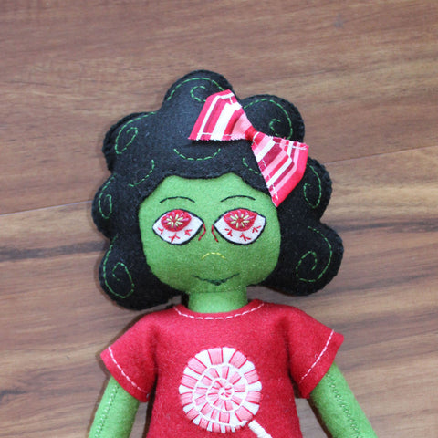 OOAK Felt Handsewn Zelda The Zombie Girl Plush Doll