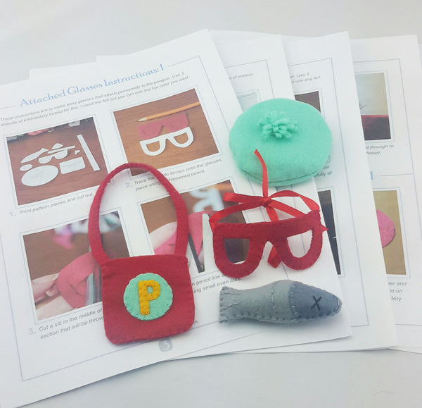 felt accessory pieces on pattern pages