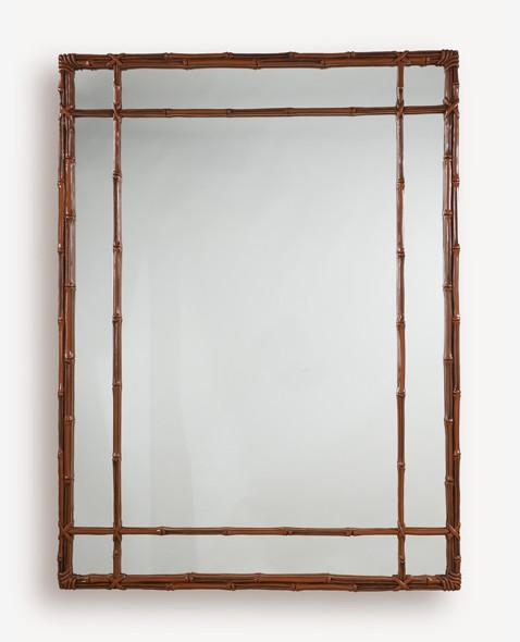 "Rectangular Bamboo Mirror with Double Fret Panel 36"" x 48"""