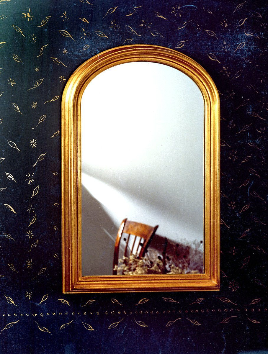 "Antique Gold Leaf Accented American Arch Mirror 26"" x 40"""