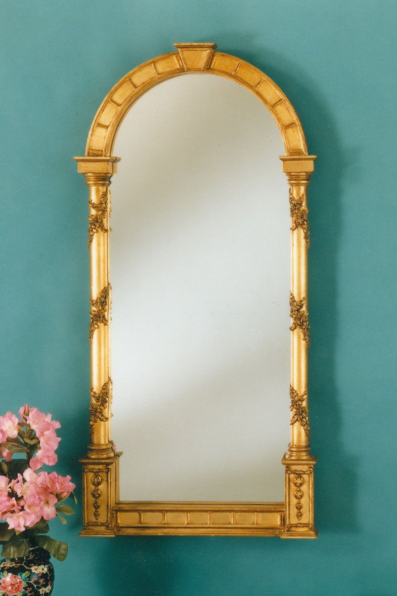 "Lattice Keystone Arched Garden Niche Mirror 18"" x 36"""