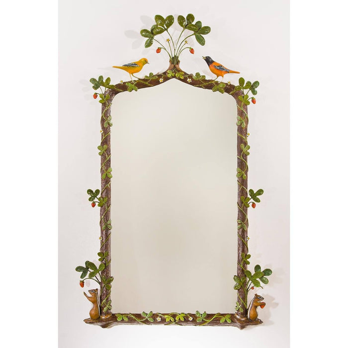 "Animal Motifs Accented Strawberry Framed Mirror 27"" x 44"""