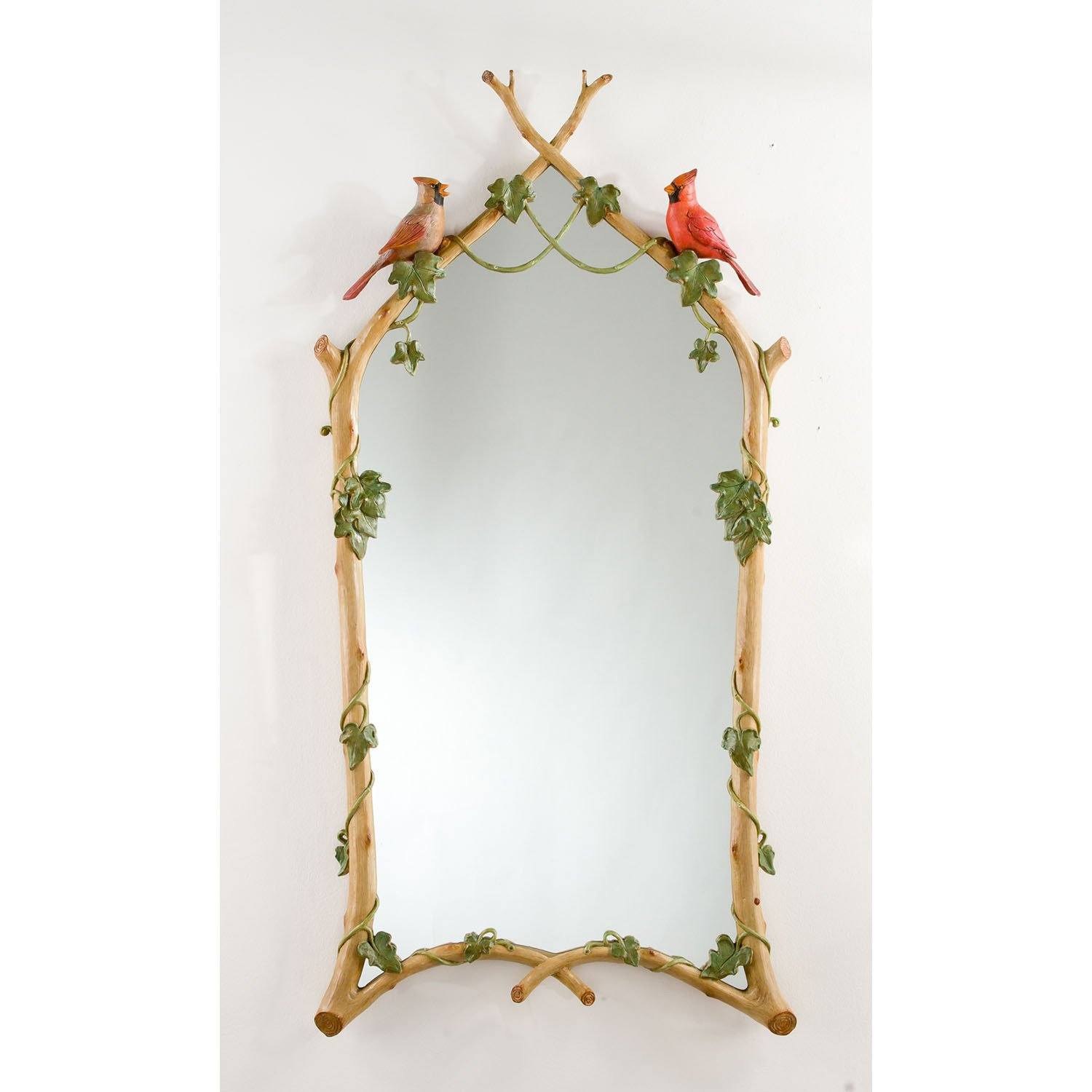 "22"" x 44.5"" Hand Painted Twig & Ivy with Cardinals Mirror"