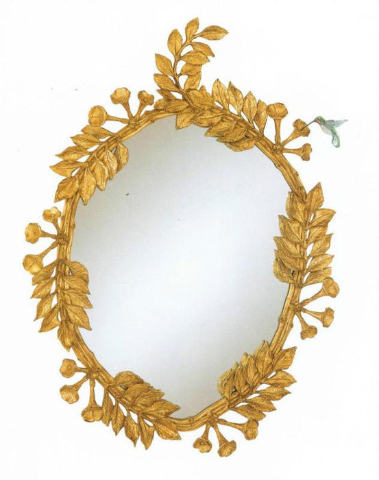 "Hummingbird & Trumpet Vine Oval Ornate Mirror 31"" x 41"""