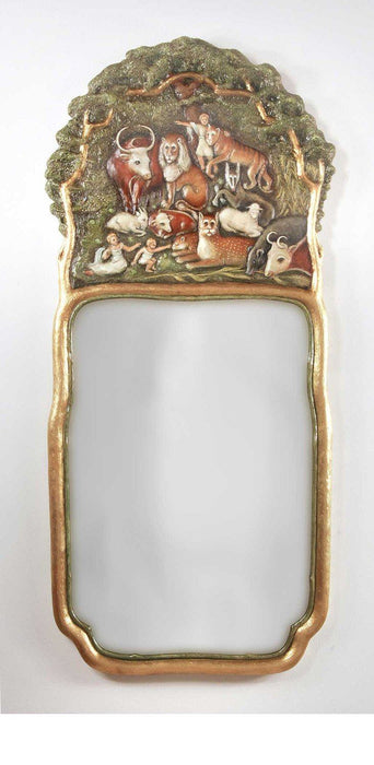 "Hand Painted Peaceable Kingdom Plain Mirror 22"" x 48"""