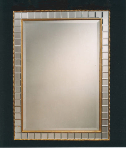 "29"" x 38.5"" Deco Baggett Mirror with Beveled Mirror Frame"