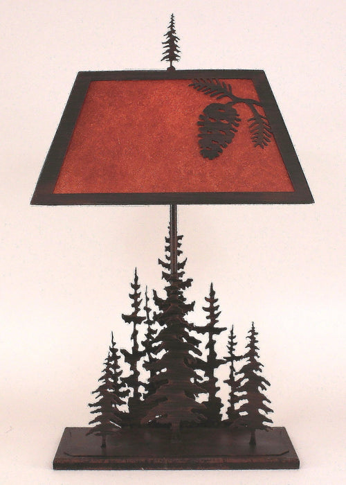 Iron Rectangle Feather Pine Tree Table Lamp in Burnt Sienna
