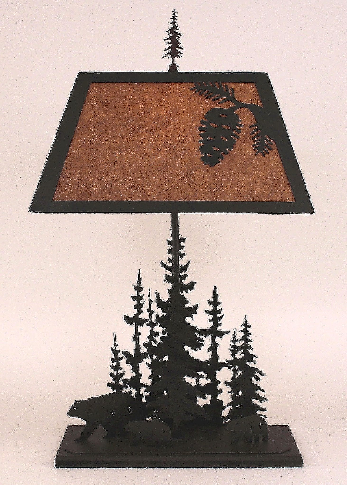 Kodiak Finished Iron Rectangle Feather Pine Tree Table Lamp