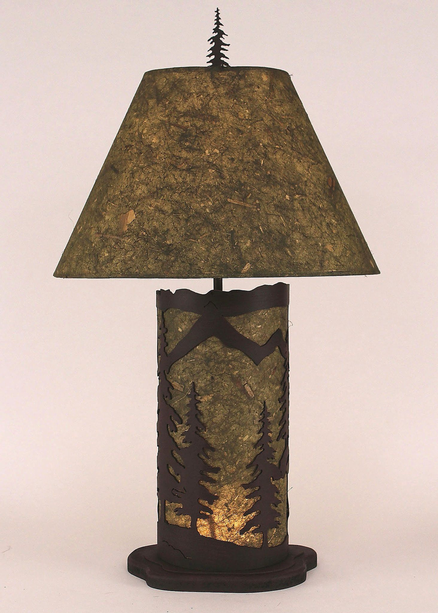 Small Mountain Scene Table Lamp with Embossed Panel
