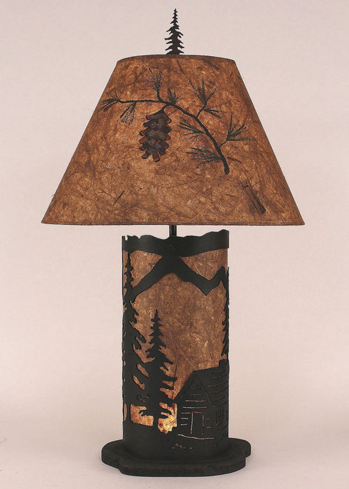 Small Table Lamp with Cabin Scene Panel