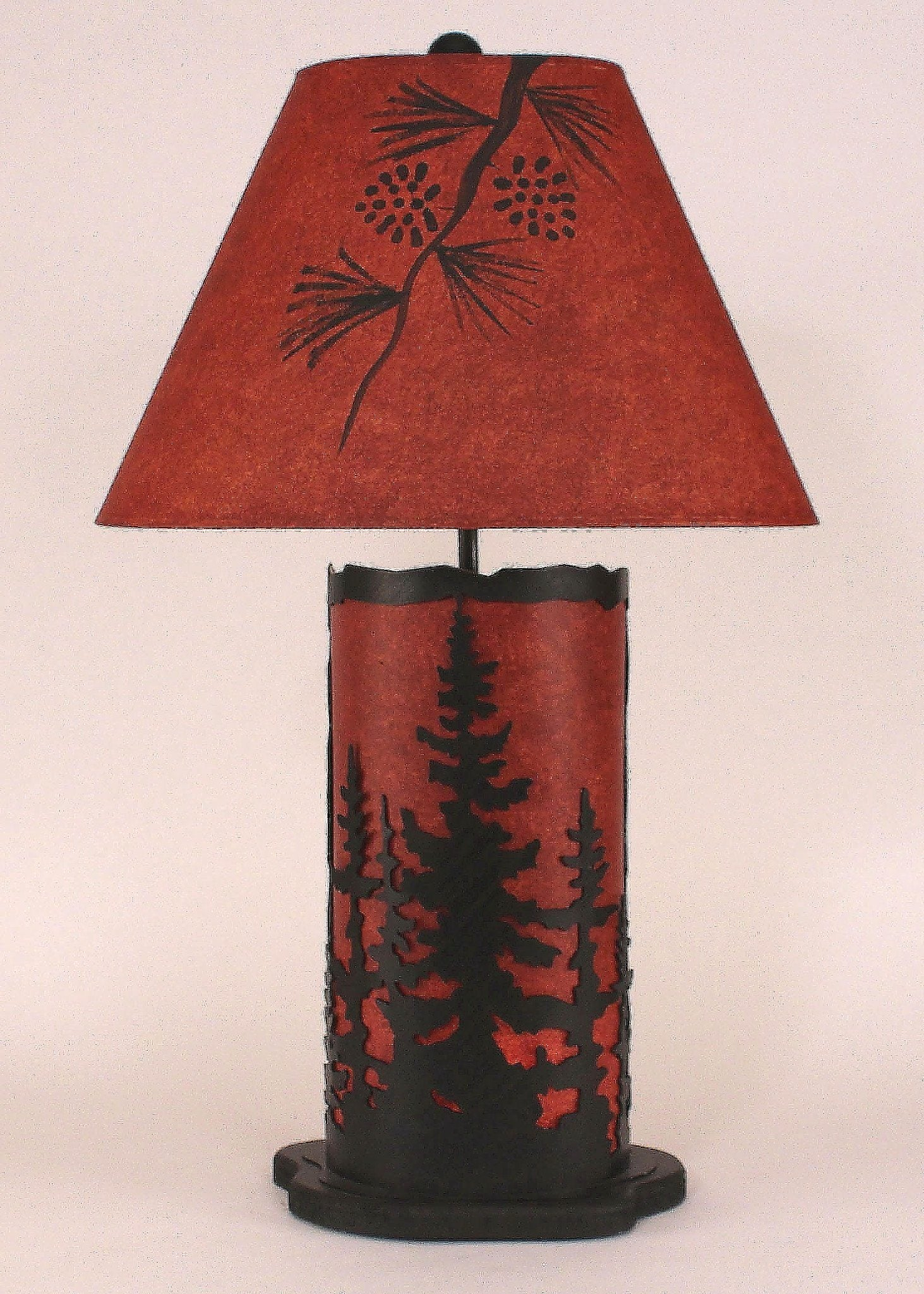 Cabin table lamps cabin and lodge 29 h small night table lamp with feather tree panel mozeypictures Image collections