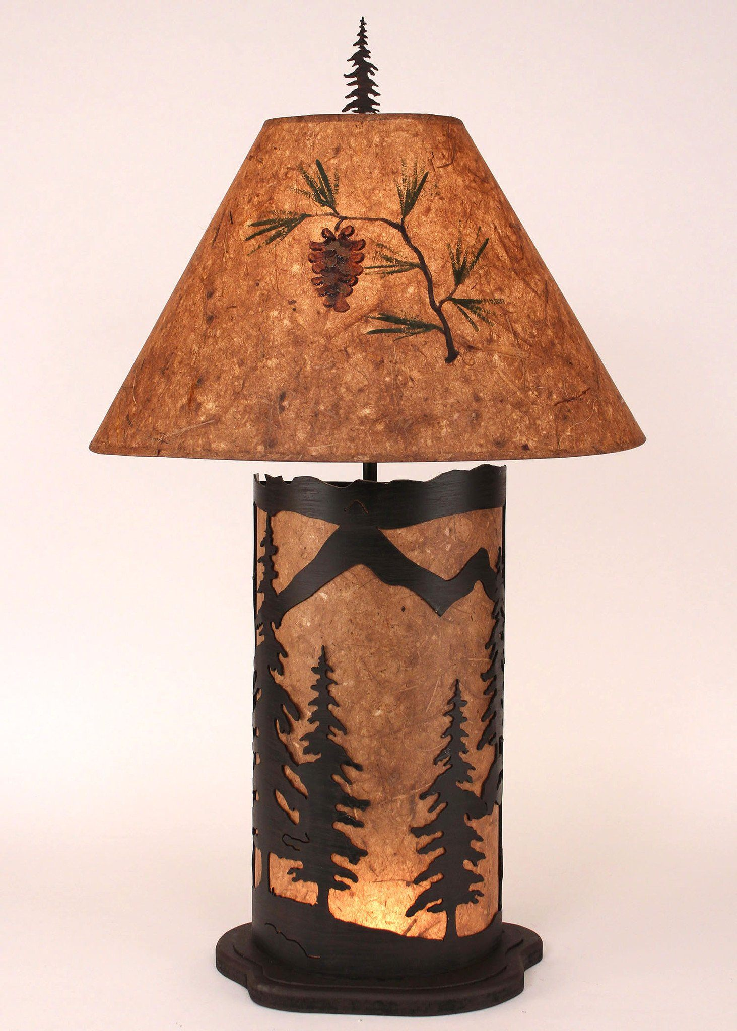 Large Mountain Scene Table Lamp with Kodiak Finish