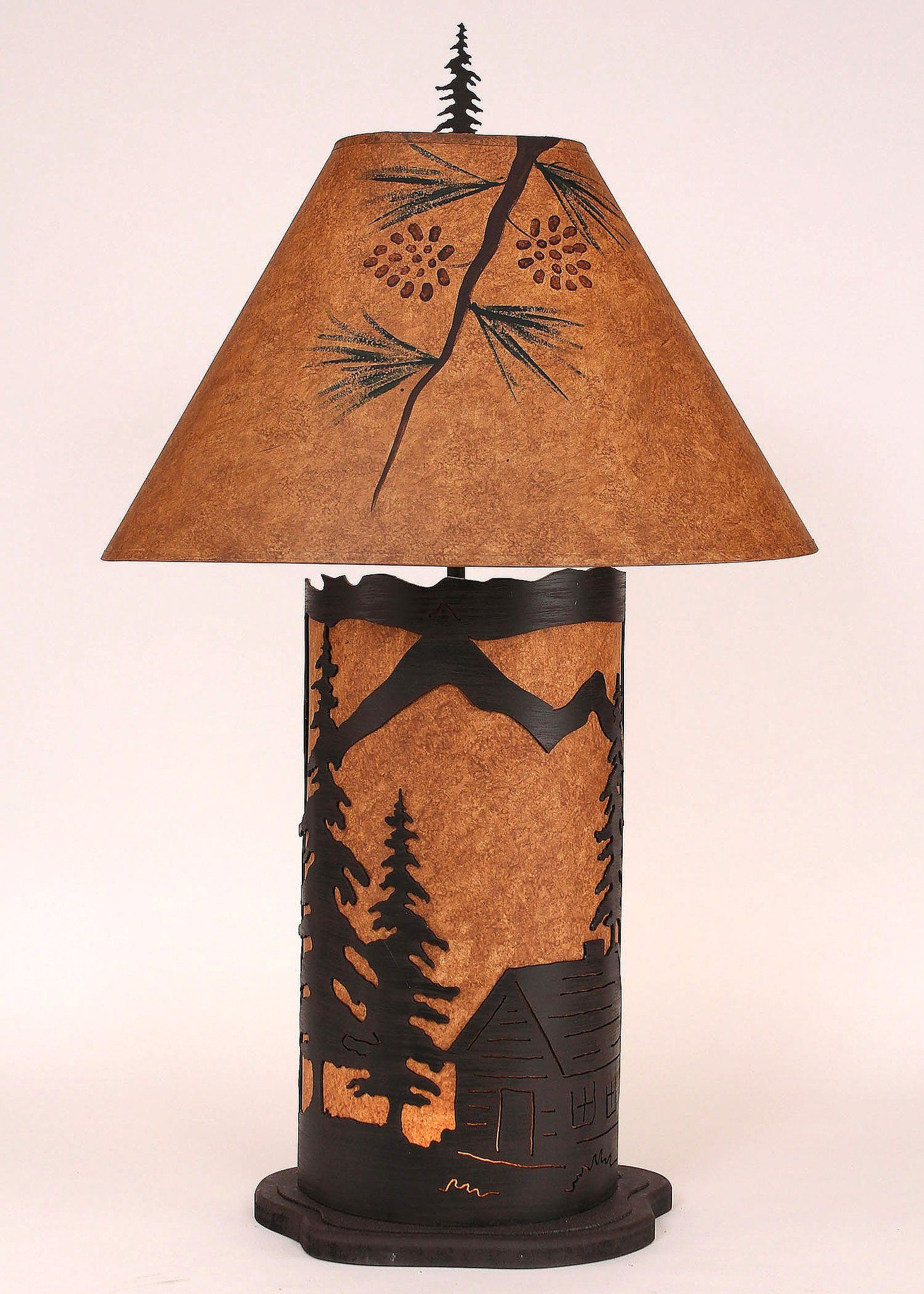 Large Cabin Scene Night Table Lamp in Rustic Brown