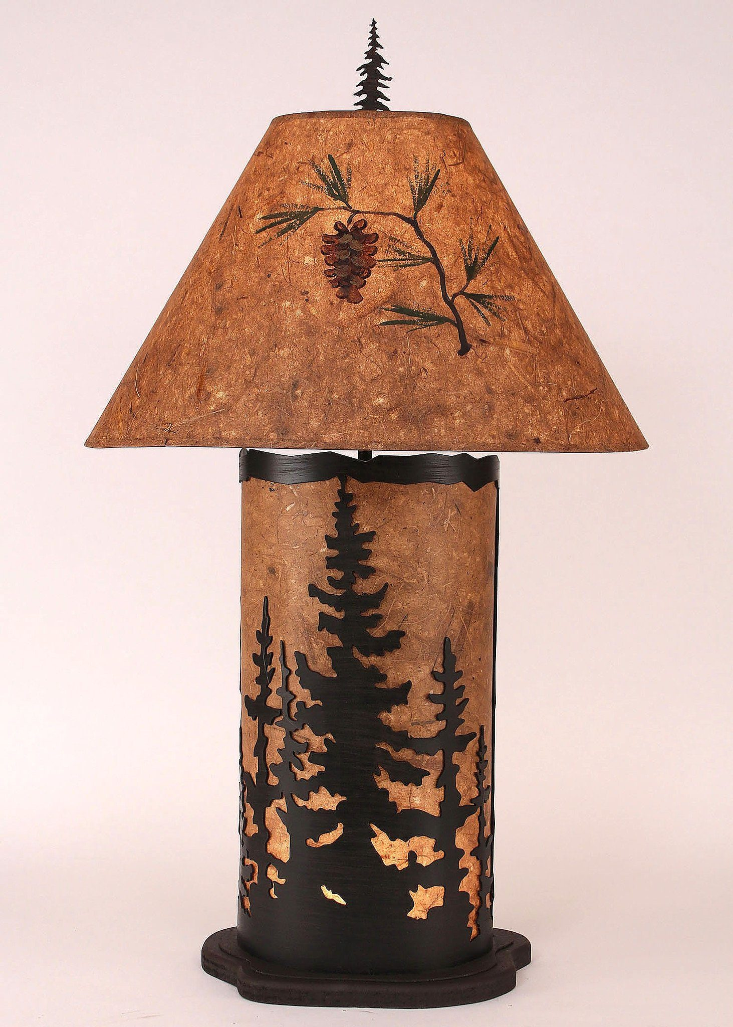 Large Feather Tree Table Lamp with Wood Chip Stain Finish