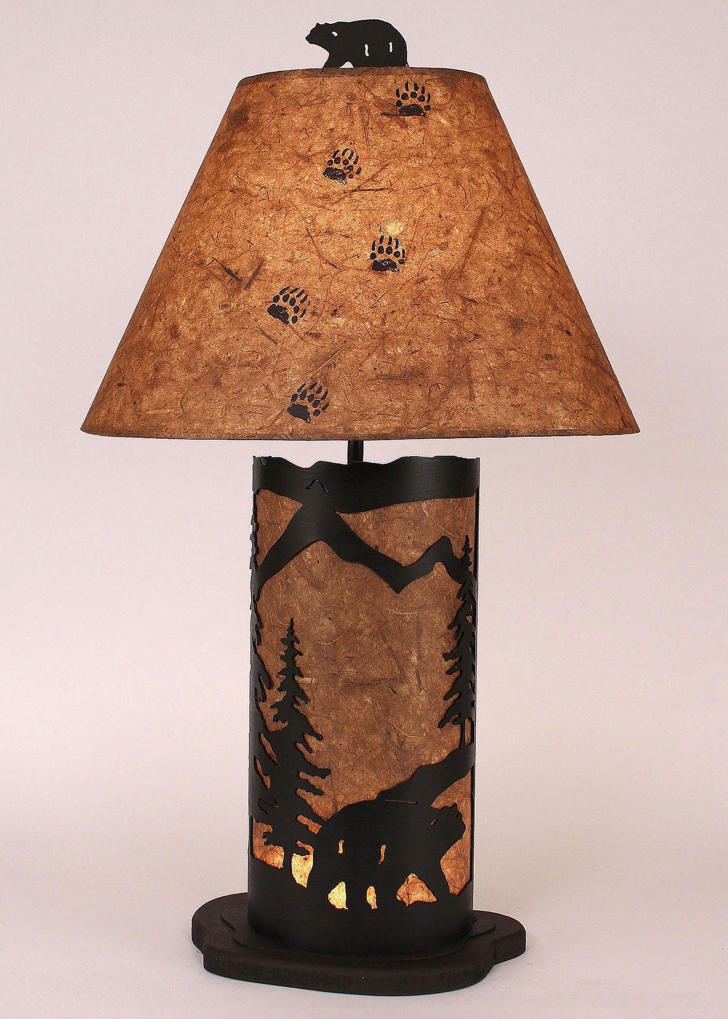 "Small 30"" H Night Table Lamp with Bear Scene Panel"