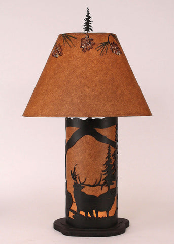 Rustic Brown Small Elk Scene Accented Table Lamp