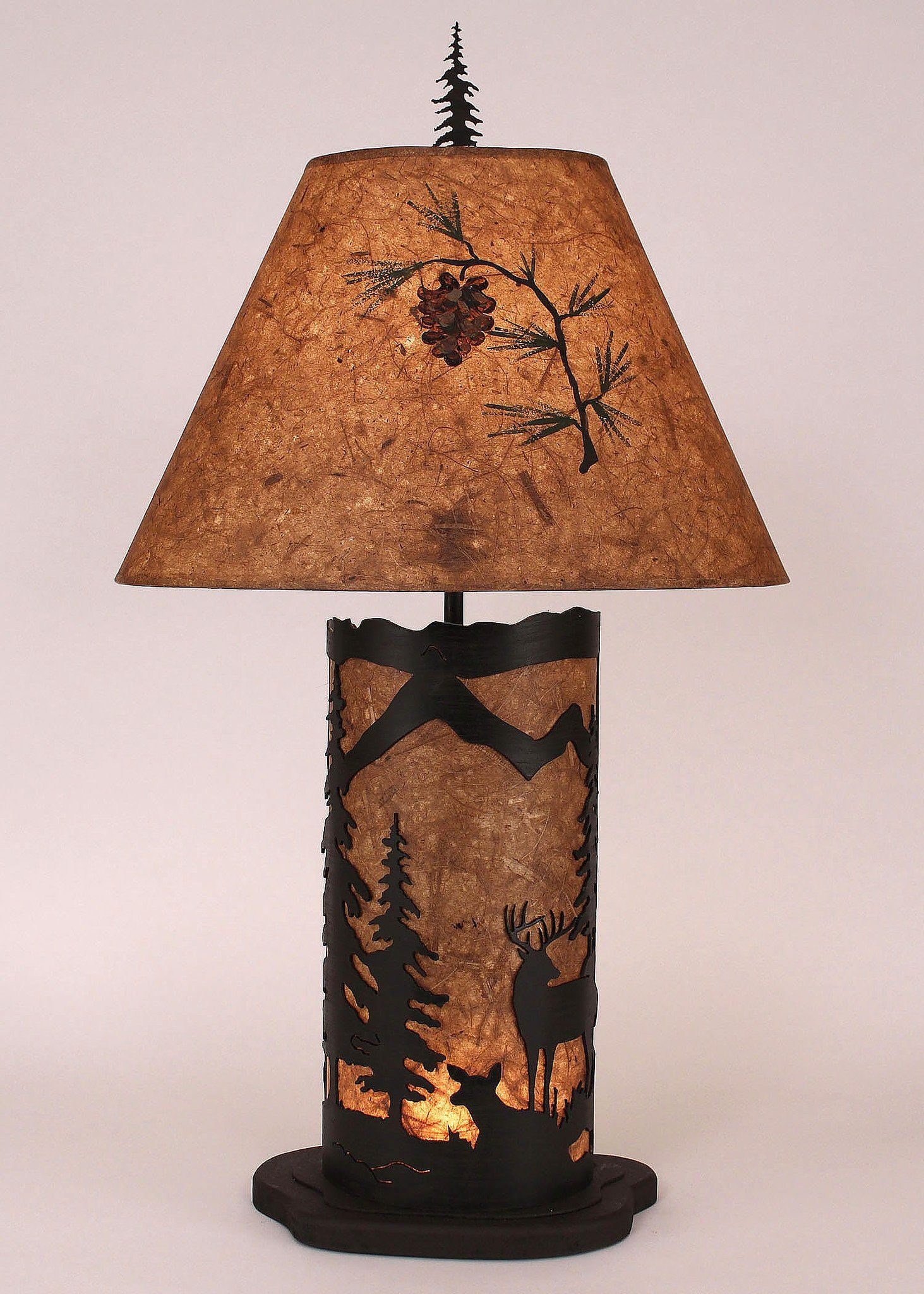 Small 32 Quot H Deer Scene Panel Night Table Lamp Free